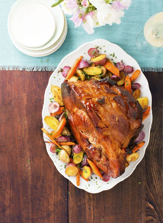 Apricot-Mustard Ham with herb roasted root vegetables from Good Housekeeping.