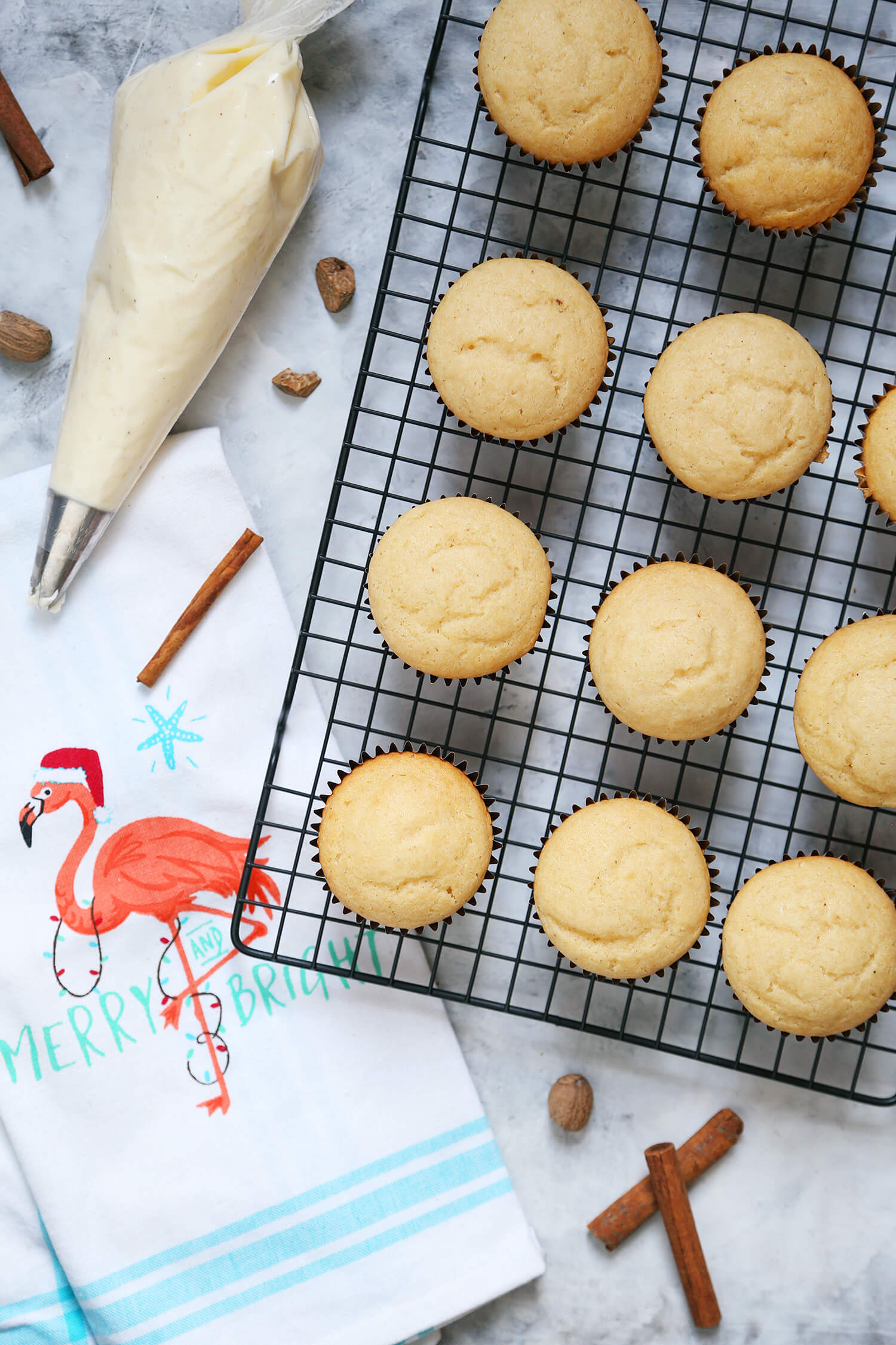 Spiked Eggnog Cupcakes