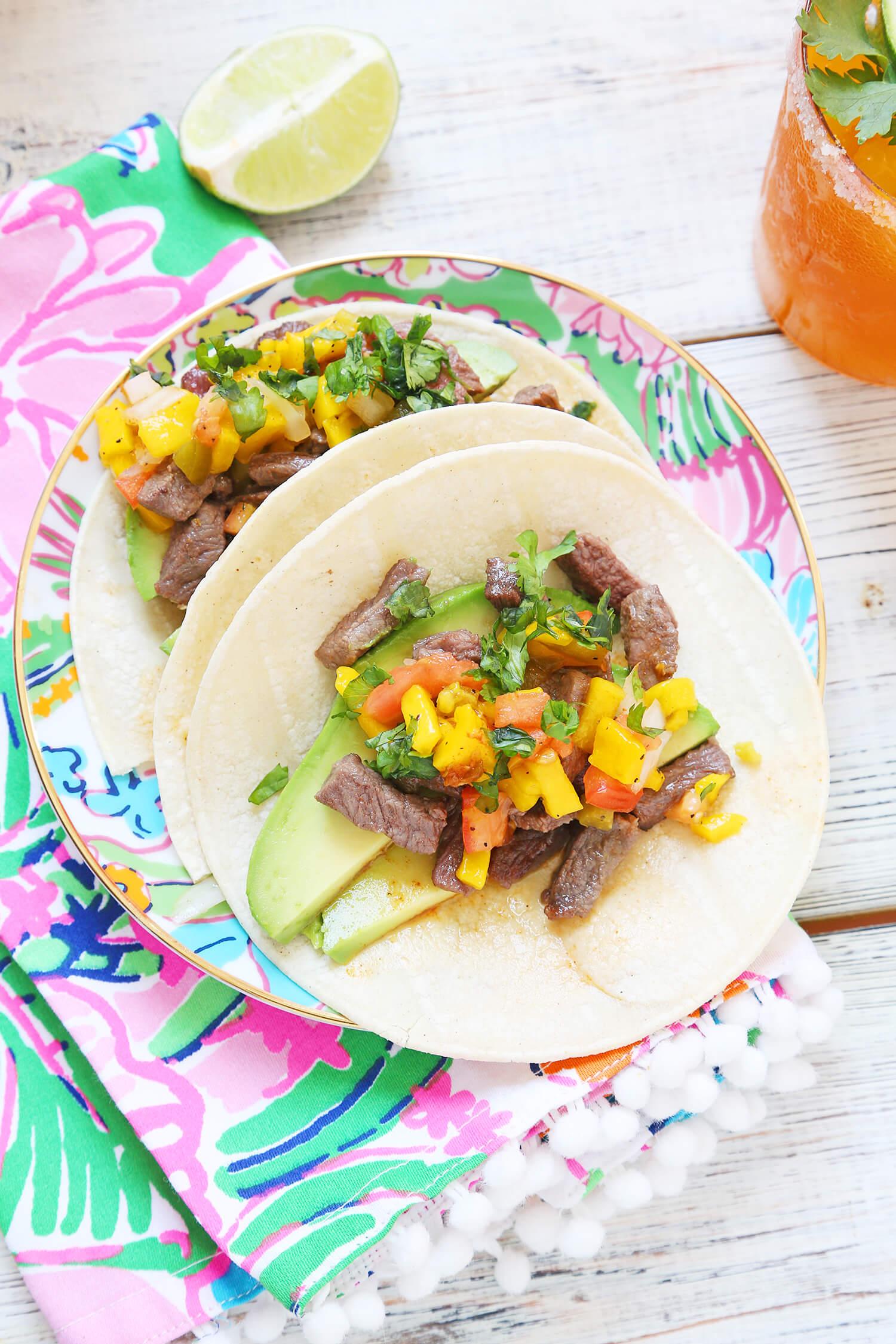 Mango Kombucha Margarita + Bistec Mango Tacos